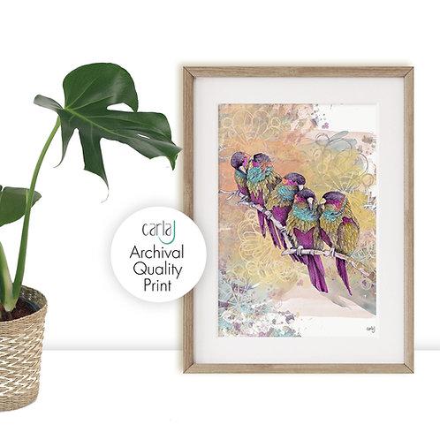 Parrot Watercolor Painting, Beautiful Art Print, Parrots Print, Bird Art Illustr