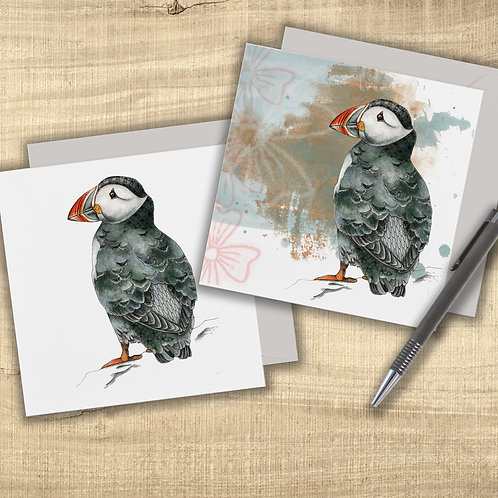 Puffin card set of 2 greeting cards, sea birds cards, Puffin gifts