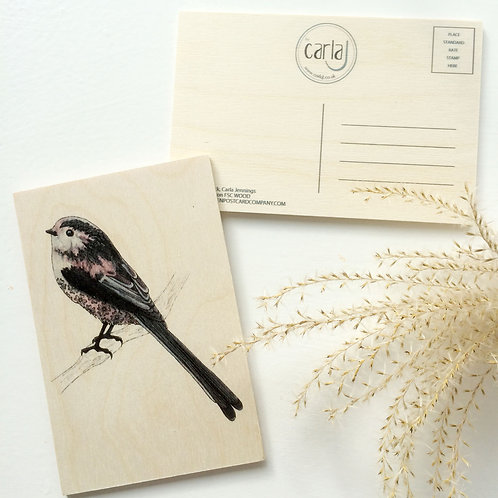 Wood Postcard, Long Tailed Tit, Cute Bird on Wood, British Garden Birds, Nature