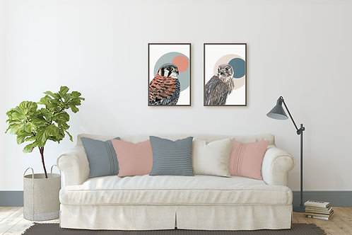 Set of 2 Prints, Birds of Prey Art, Contemporary Wall Art for the Nature Lover