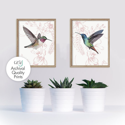 Hummingbird set of 2 art prints, Hummingbirds wall decor, Pink prints, Birds and