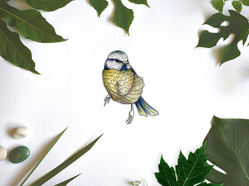 Blue Tit Wall Sticker, Removable Vinyl Wall Decal, British Garden Bird Decals