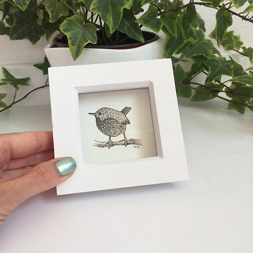 Small Framed Wall Art Cute Bird Gifts, Tiny Wren Print, British Garden Bird