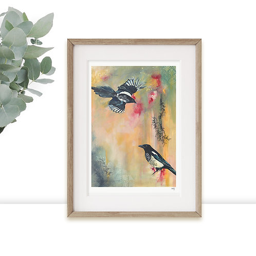 Magpies Print Limited Edition, Wildlife Nature Birds Art Prints, Two for Joy