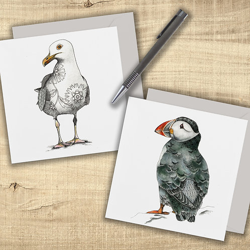 Puffin card and Seagull card set of 2, sea birds art cards, Puffin gifts, Seagul