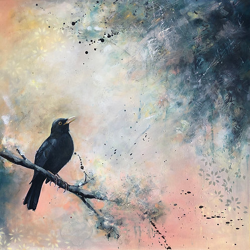 Blackbird Painting on Canvas Original Serene Nature Art, Acrylic Bird Artwork