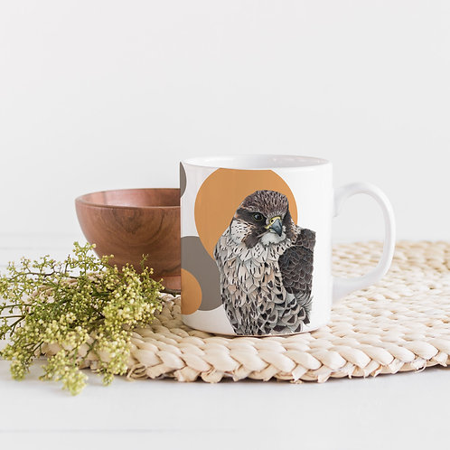 Bird Mug, Yellow and Brown Scandi Mug, Bird of Prey Coffee Mug, Bird Lover Gift