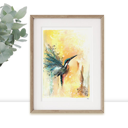 Kingfisher Limited Edition Art Print, Colourful Wall Art with Gold Leaf