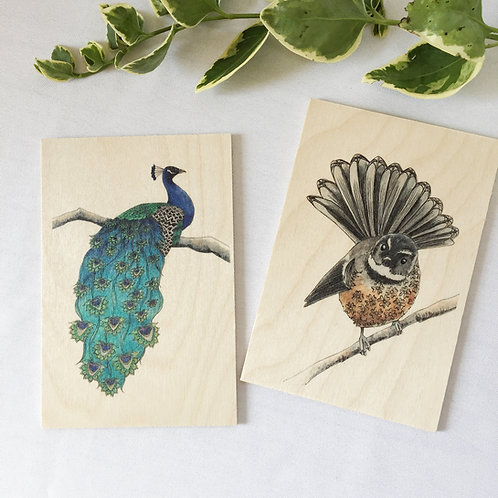 Wood postcards set of 2, Peacock and Fan Tail, Bird lover gift, Bird on wood nat