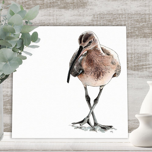 Wading bird illustration art print limited edition Curlew bird nature painting