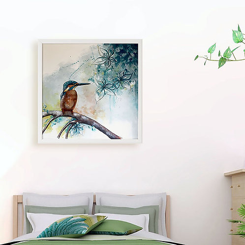 Original Kingfisher Painting on Canvas, Framed Blue Wall Art, Contemporary Bird