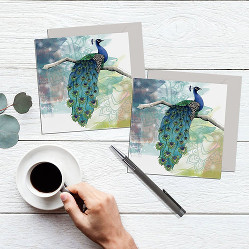 Peacock card set of 2, pretty bird design greeting cards, Peacock gifts