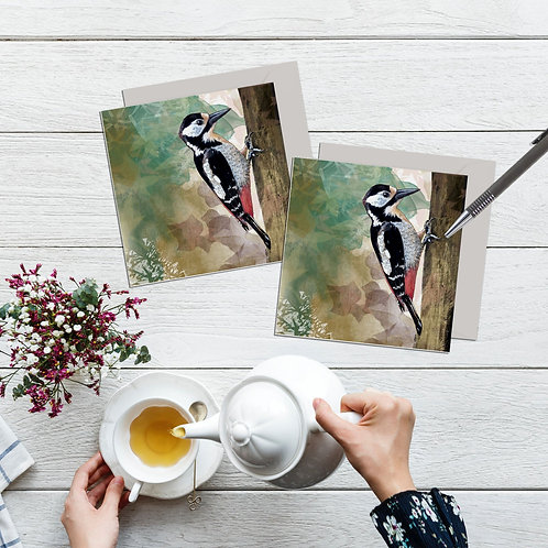 Woodpecker card set of 2, Woodpecker gifts, Woodland card for the nature lover