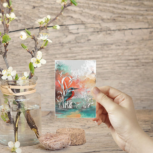 Tiny art print Kingfisher painting mini art prints nature lover miniature