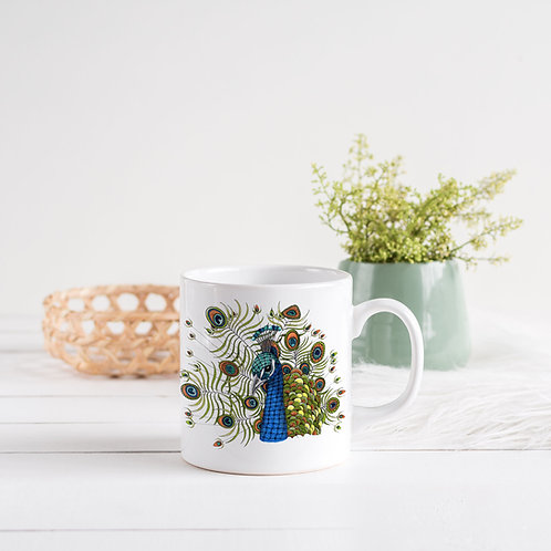 Peacock Mug, Ceramic coffee mug, Peacock gifts, Art mugs, Unique coffee mugs, Gi