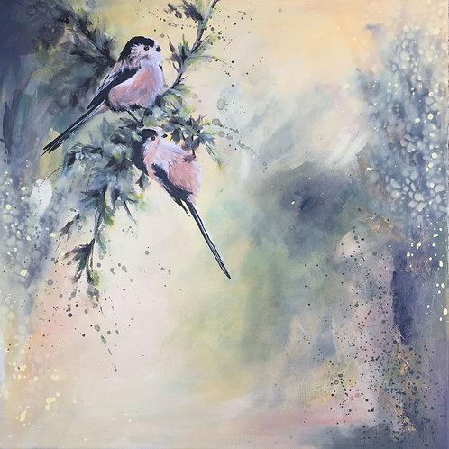 Acrylic Birds Painting on Canvas, Original Nature Art, Long Tailed Tits Bird Art
