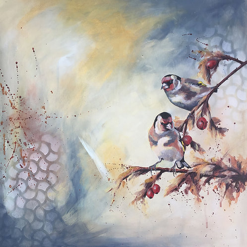 Original Birds Acrylic Painting on Canvas, Goldfinch Nature Art, Birds on Branch