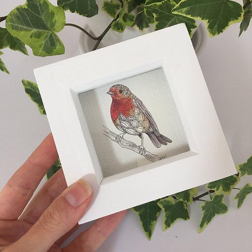 Tiny bird print, Mini gifts, Tiny framed art, Small framed print, Robin gifts