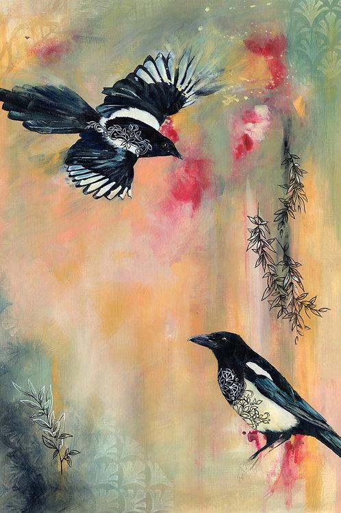 Magpies Art Original Bird Painting, Beautiful Art by Artist, Mixed Media