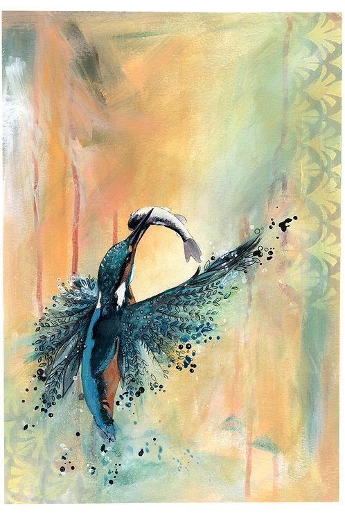 Original Kingfisher Bird Painting, Beautiful Nature Art by Artist, Mixed Media