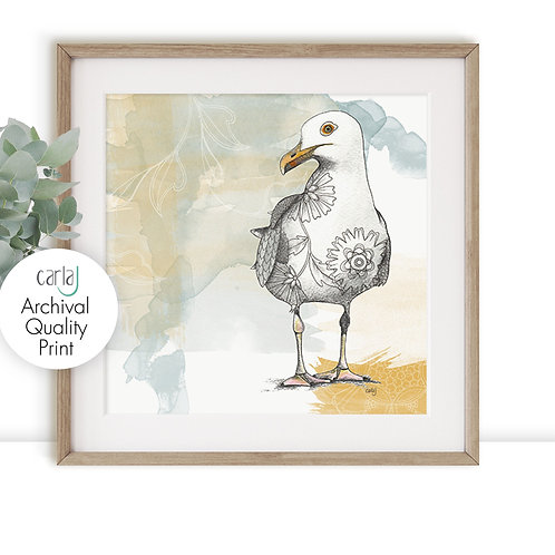 Seagull print, Bird illustration art, yellow and blue coastal wall art beach dec