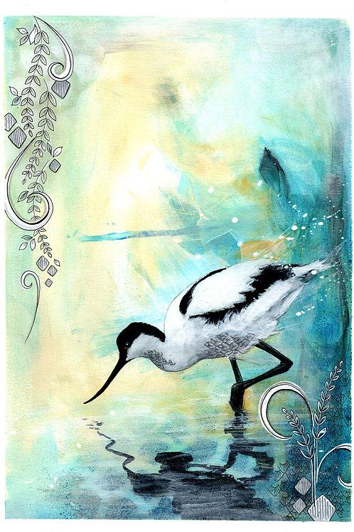 Original Avocet Shore Bird Painting, Beautiful Blue & Yellow Nature Art