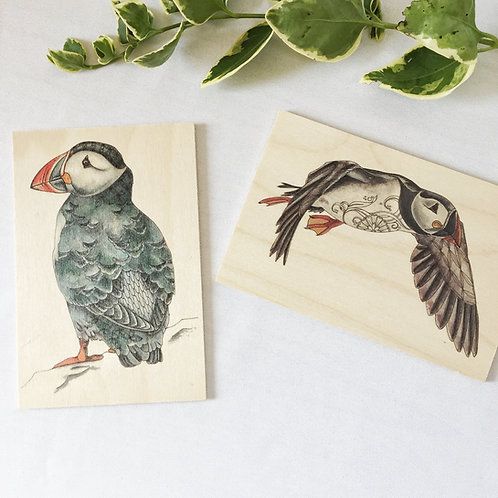 Puffin art wood postcards set of 2, Unique Puffin gifts or natural decor