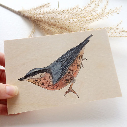 Wooden Postcard, Nuthatch Bird on Wood Natural Wildlife Decor