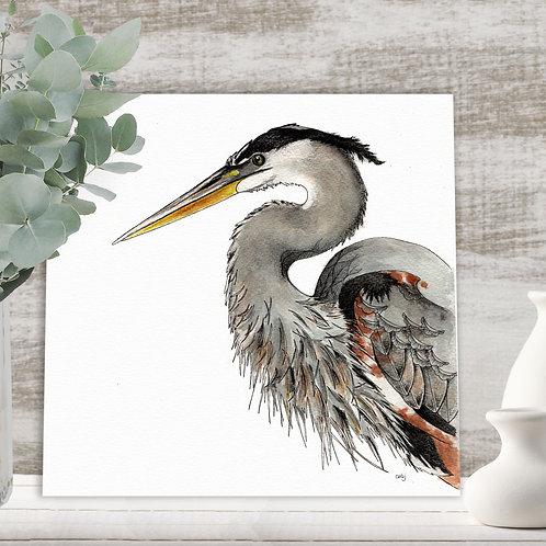 Heron print birds art, limited edition water bird prints, nature illustration