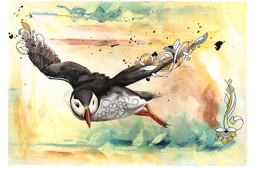 Puffin Art Original Painting, Bird Illustrations Beautiful Nature Wall Art
