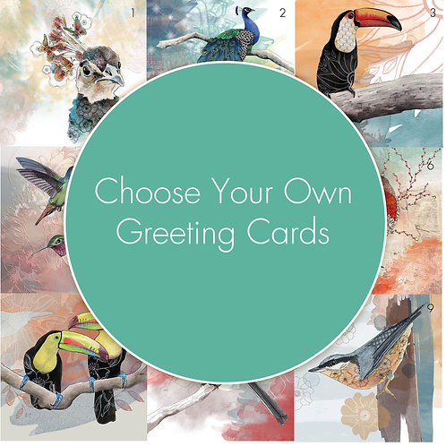 Greeting Cards Pack, Choose Cards, Blank Cards Set, Card Bundle, Beautiful Birds