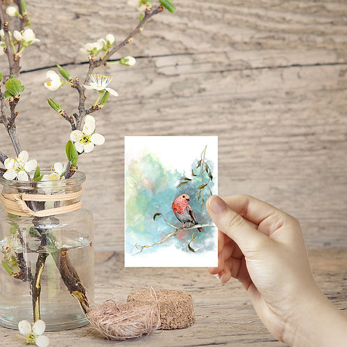 ACEO card tiny art print Robin painting bird on a branch small prints miniature