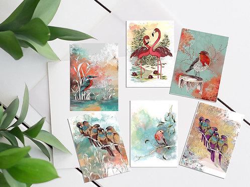 Mini print set of 6 ACEO cards tiny art prints mini birds small prints