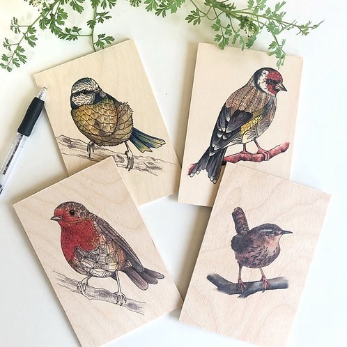 Wooden Postcard Set, British Garden Birds, Robin, Blue Tit, Goldfinch, Wren