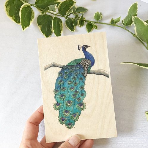 Peacock Wooden Postcard, Unique Gift or Natural Decor, Print on Wood