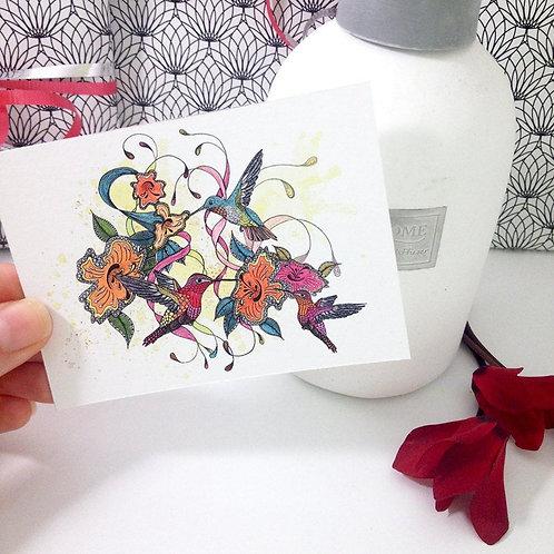 Hummingbirds miniature art print, Tiny bird painting, Hummingbird mini prints, A