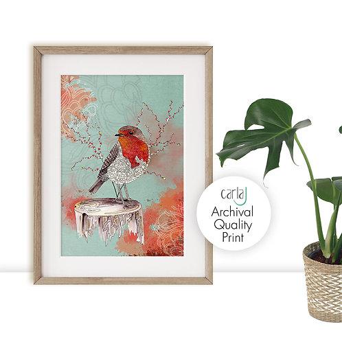Robin Red Breast, Bird art print, Nature inspired prints, Bird illustration