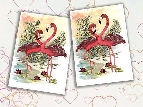 Flamingo card pack of 2, Wife valentine card, Flamingo heart birds cards