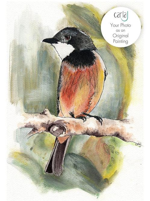 Your Photo as an Original Painting, Bird Art Commission Painting, Custom Bird Gi