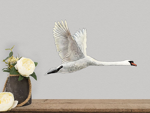 Flying Swan Vinyl Decal, Removable Swan Wall Stickers, Modern Farmhouse