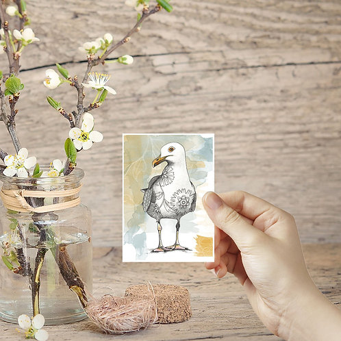 Seagull Art, Tiny Prints, ACEO in the UK, Miniature Prints, Small Artwork Seabir