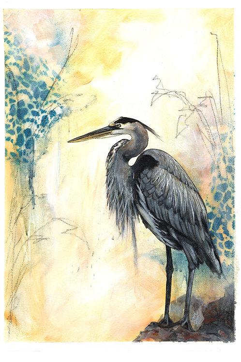 Original Heron Bird Painting, Beautiful Artwork, Original Nature Art Painting