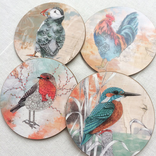 Drink coasters set, kitchen decor, bird art coaster nature gift for her