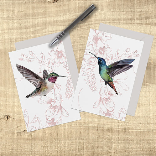 Hummingbird Card Pack, Pretty Cards Set of 2, Just Because Card, Humming Bird