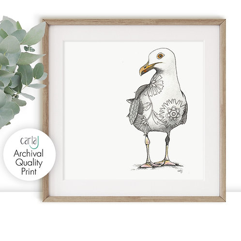 Seagull print, Bird Illustration Minimal Print, Coastal Wall Art Beach Decor