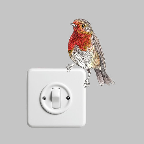 Cute Bird Vinyl Stickers, Robin Red Breast Wall Sticker, Nature Vinyl Wall Decal