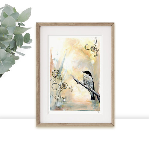 Bird Artwork Limited Edition A3 A4 Art Print, Calming Wall Art, Yellow and Black
