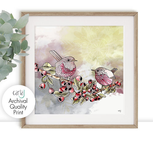 Wren Print, Cute Birds on a Branch Art, British Garden Birds, Nature Wall Art Pr