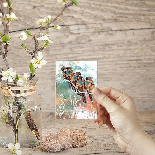 ACEO card tiny art print mini birds painting parrot print bird art miniature