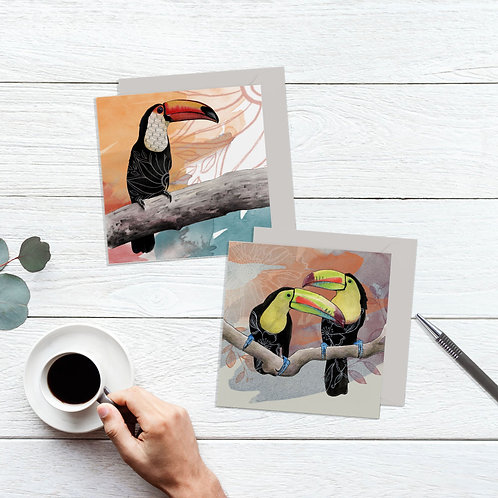Beautiful Birds Toucan Art Card Set of 2, Tropical Cards Pack, Nature Art Cards
